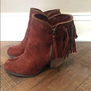 Brown fringe ankle booties 6.5